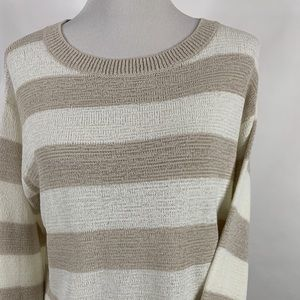 Theory Sweater Size Large Tan White Striped